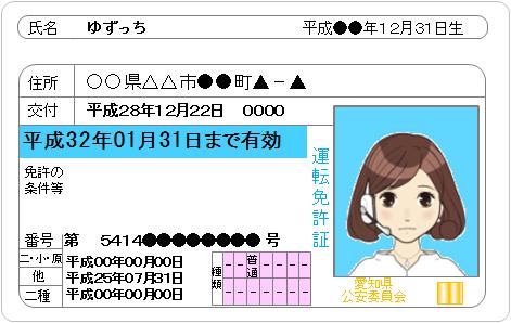 ゆずっちの運転免許証画像
